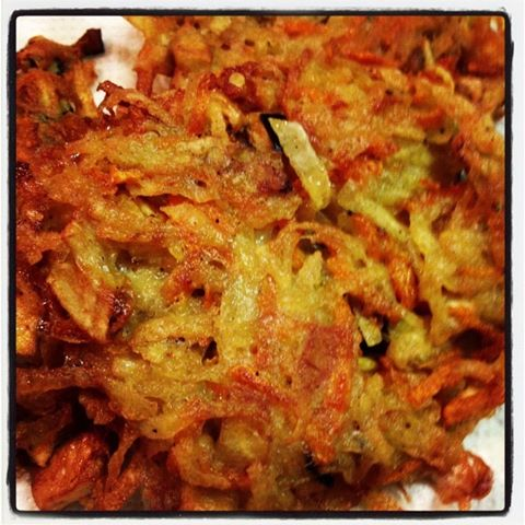 Carrot and eggplant latkes